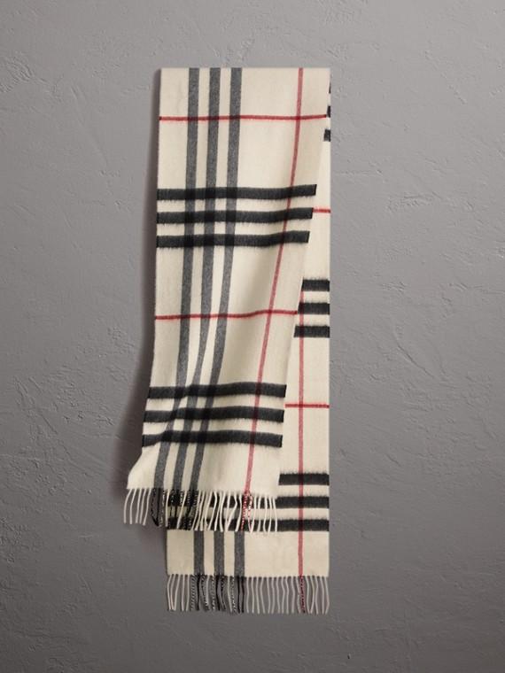 Cachecol clássico de cashmere com estampa xadrez (Branco)