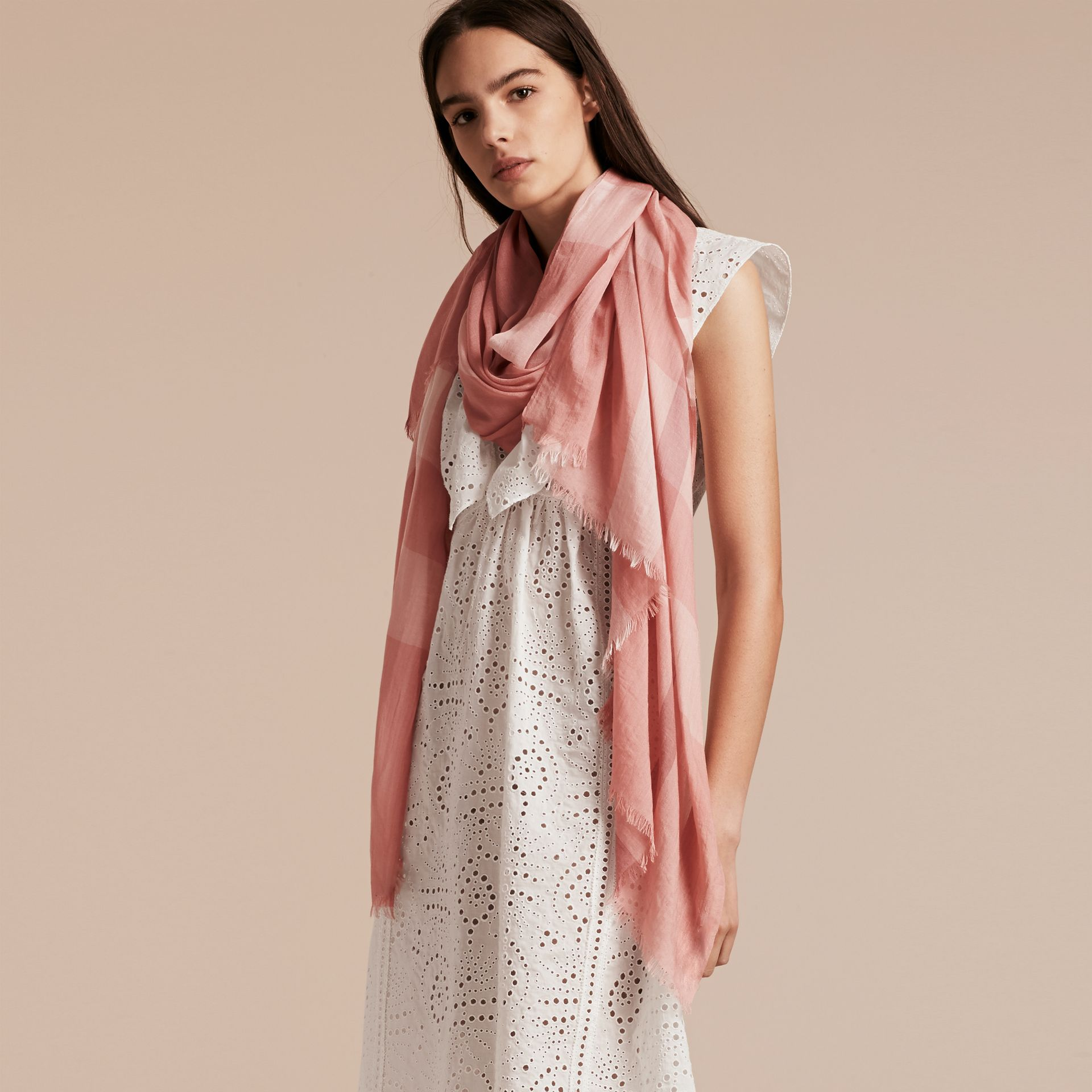 Check Modal Cashmere and Silk Scarf in Antique Rose - Women | Burberry - gallery image 3