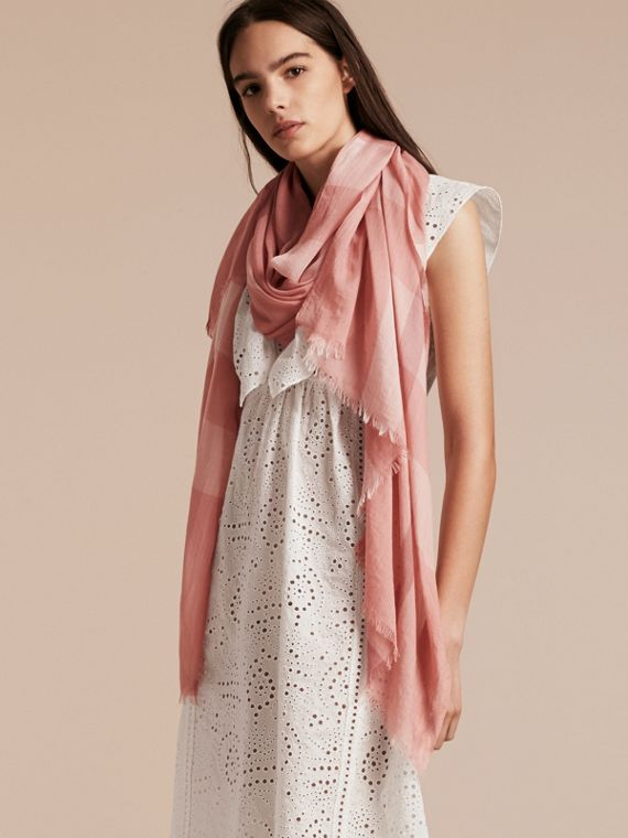 Check Modal Cashmere and Silk Scarf in Antique Rose - Women | Burberry - cell image 2