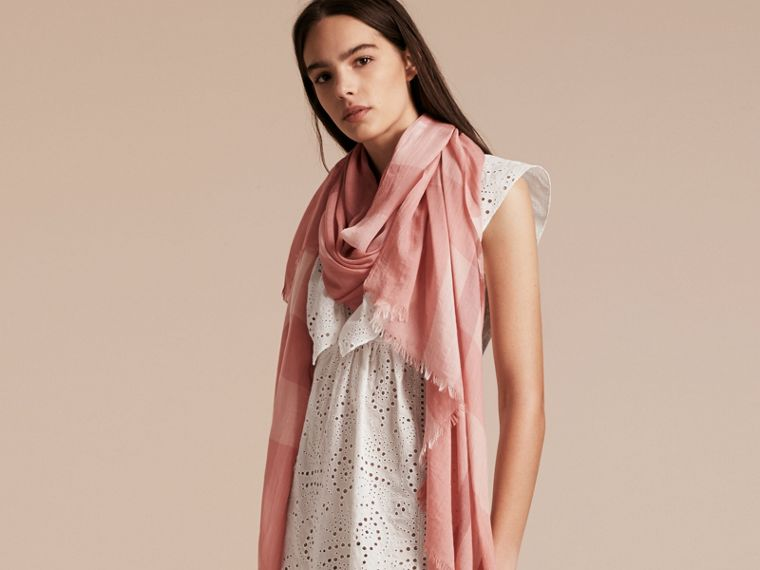 Check Modal Cashmere and Silk Scarf in Antique Rose - Women | Burberry United Kingdom - cell image 2