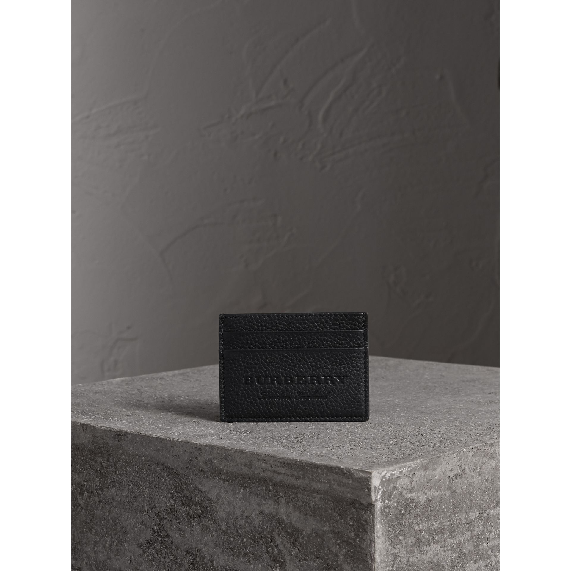 Textured Leather Card Case in Black - Men | Burberry United States - gallery image 5
