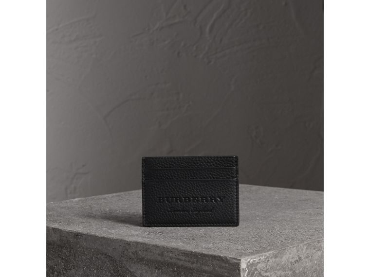 Textured Leather Card Case in Black | Burberry - cell image 4