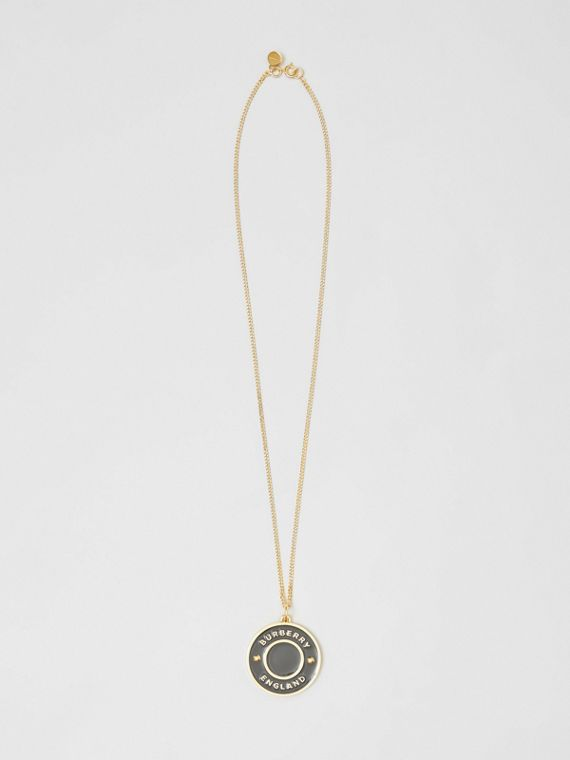Logo Medallion Gold-plated Chain Necklace in Light Gold/enamel