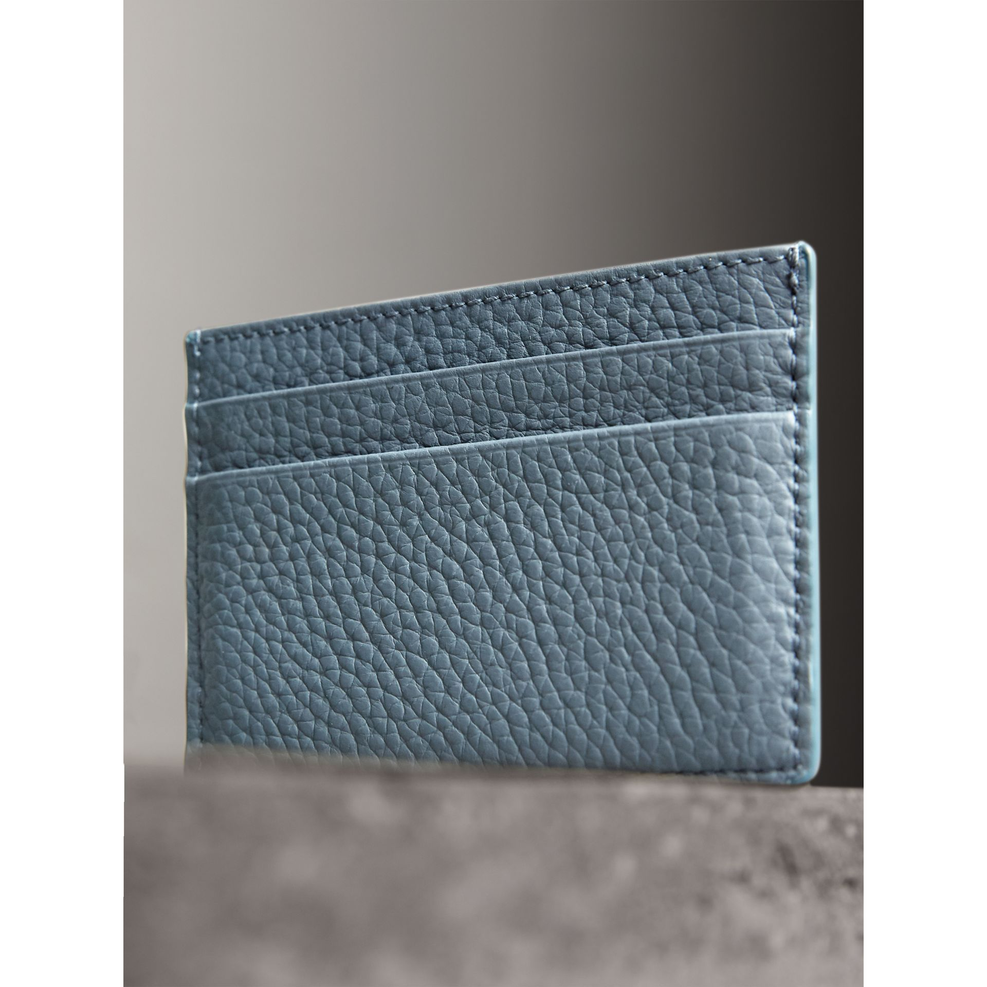 Embossed Textured Leather Card Case in Dusty Teal Blue - Women | Burberry - gallery image 3