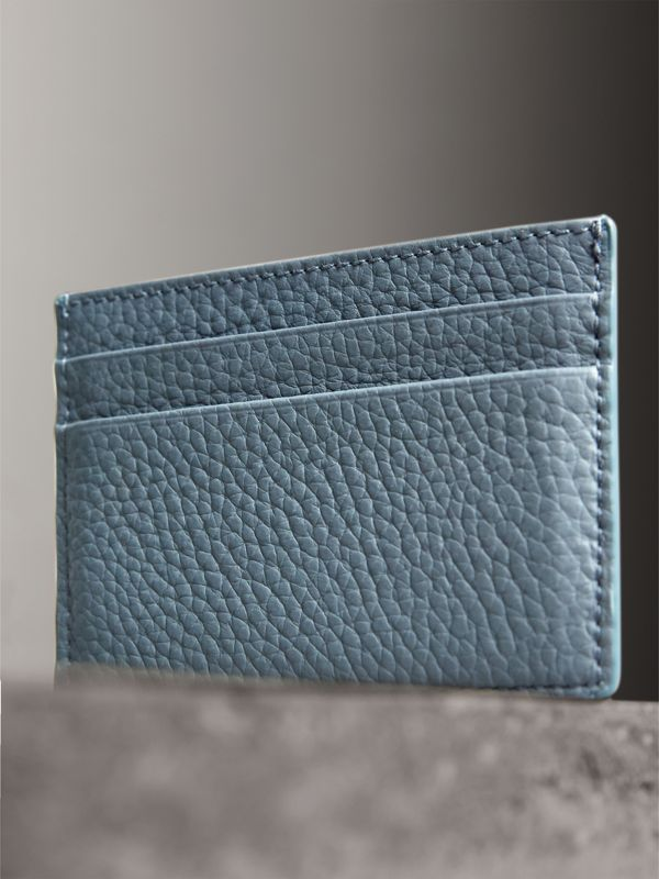 Embossed Textured Leather Card Case in Dusty Teal Blue | Burberry - cell image 2