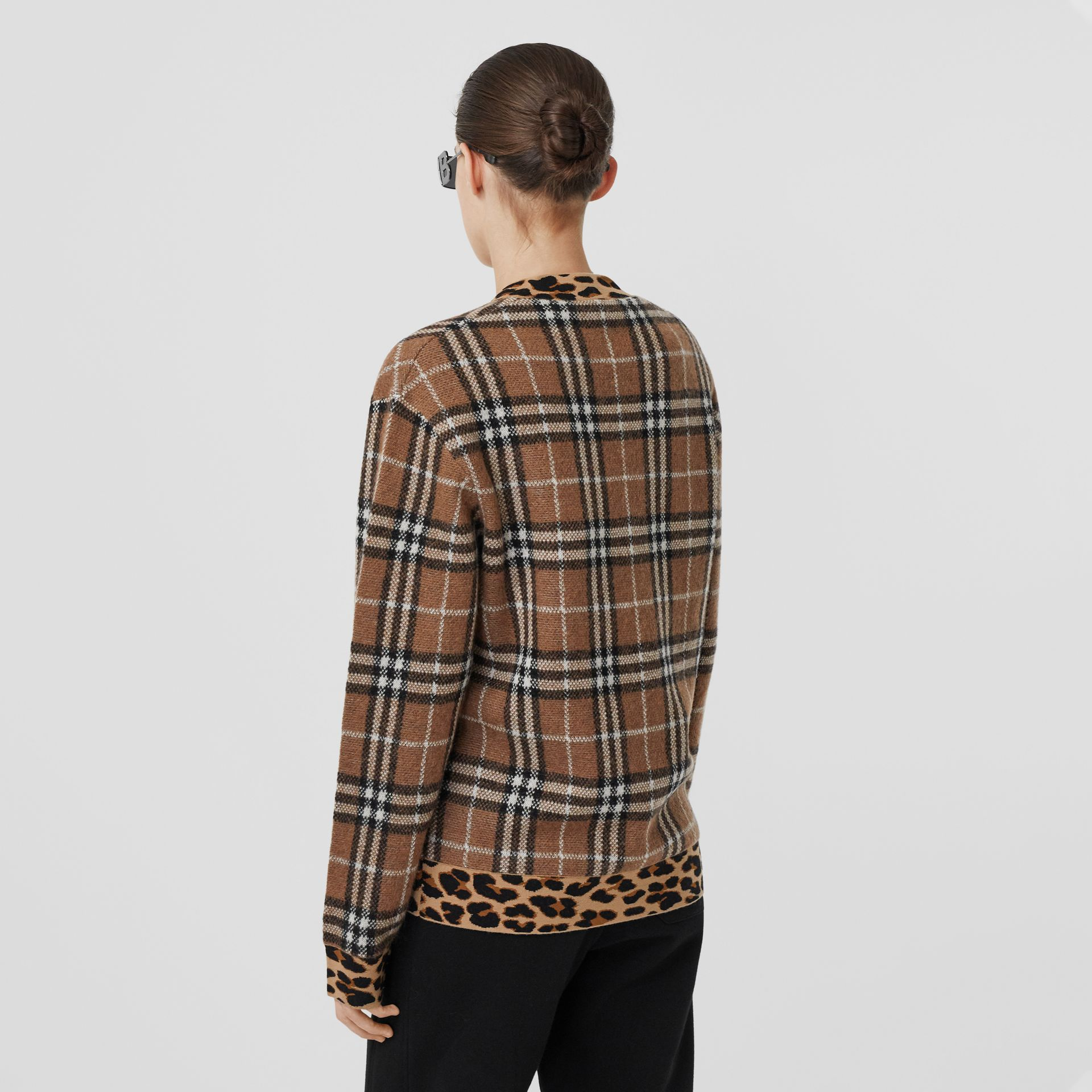 Leopard Detail Vintage Check Cashmere Blend Sweater in Archive Beige - Women | Burberry - gallery image 2