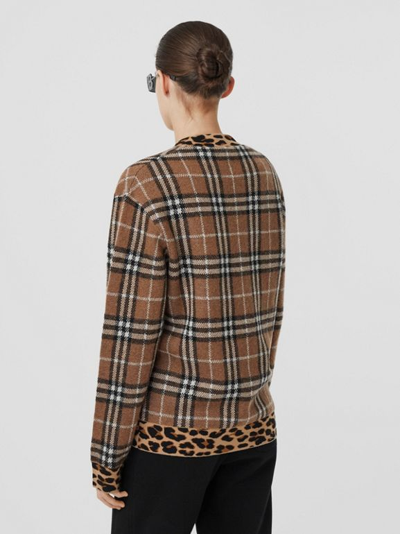 Leopard Detail Vintage Check Cashmere Blend Sweater in Archive Beige - Women | Burberry - cell image 1