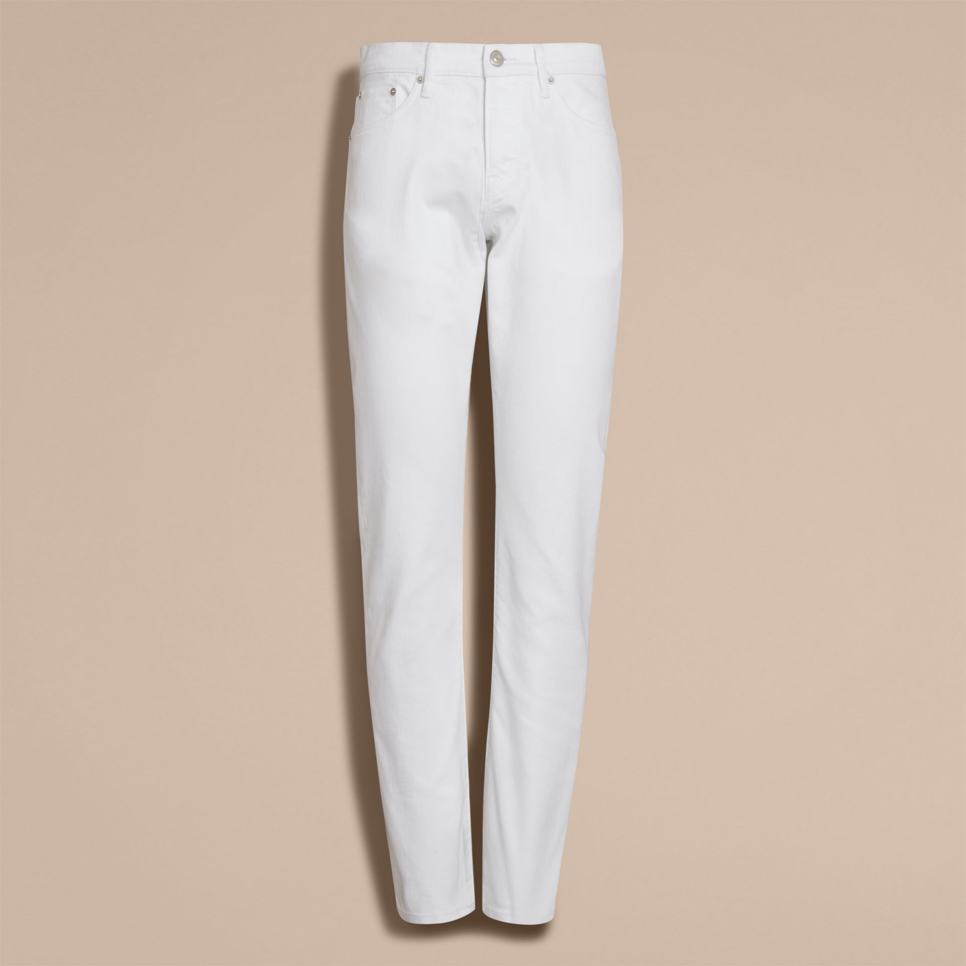 Jean stretch de coupe droite en denim japonais (White) - Homme | Burberry - photo de la galerie 4