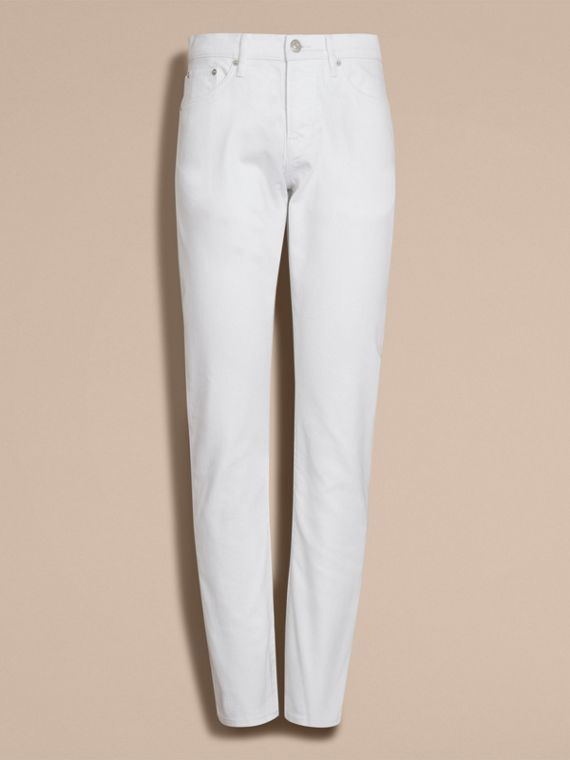 Jean stretch de coupe droite en denim japonais (White) - Homme | Burberry - cell image 3