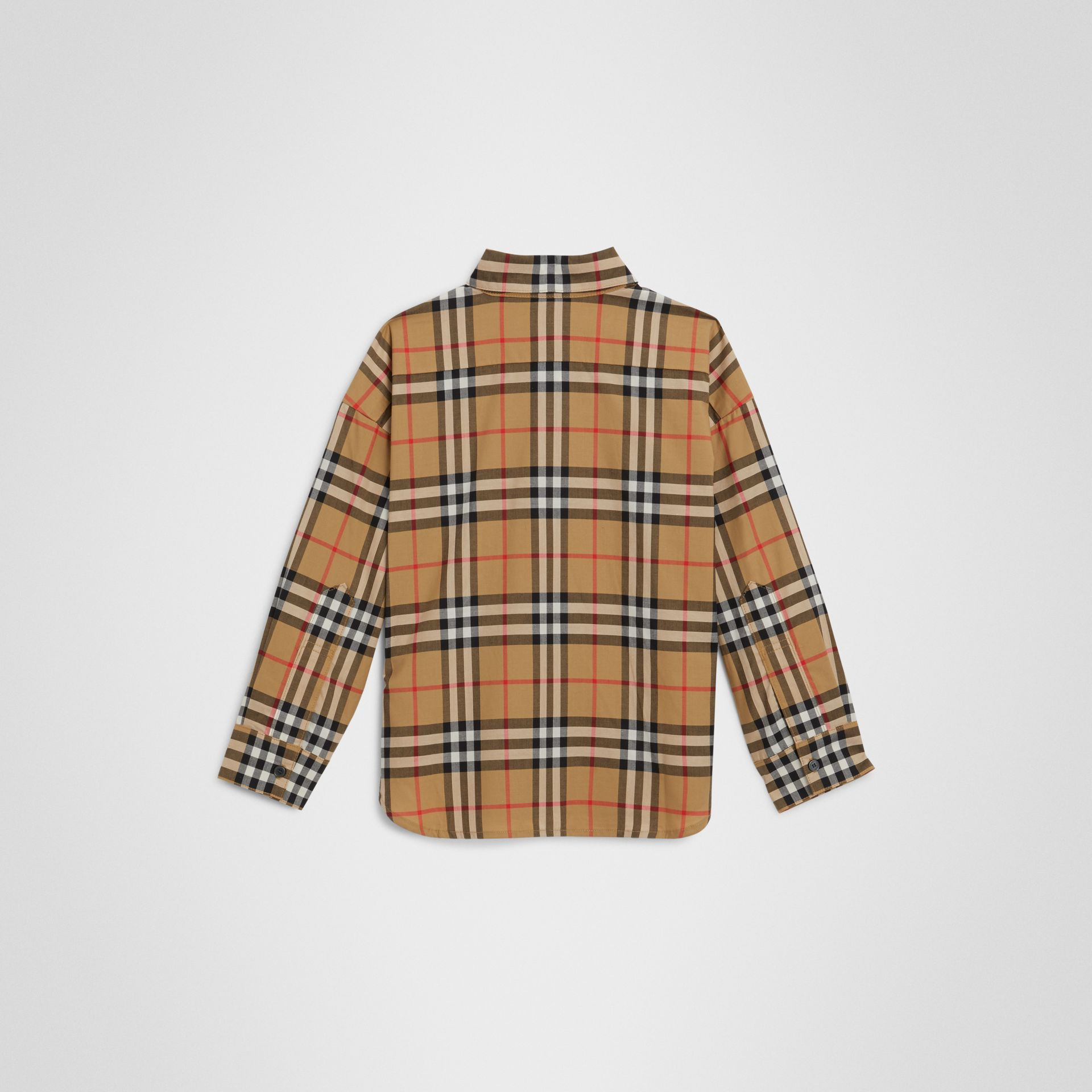 Vintage Check Cotton Shirt in Antique Yellow | Burberry Australia - gallery image 3