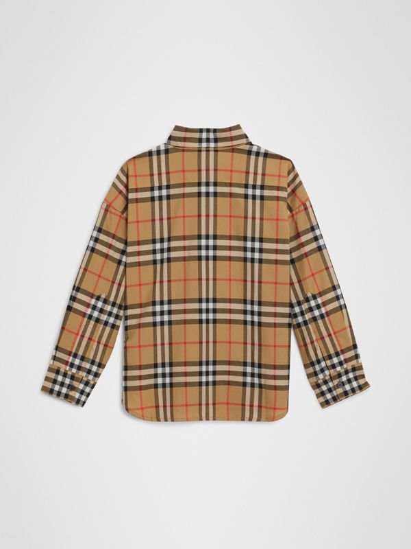Vintage Check Cotton Shirt in Antique Yellow | Burberry Australia - cell image 3