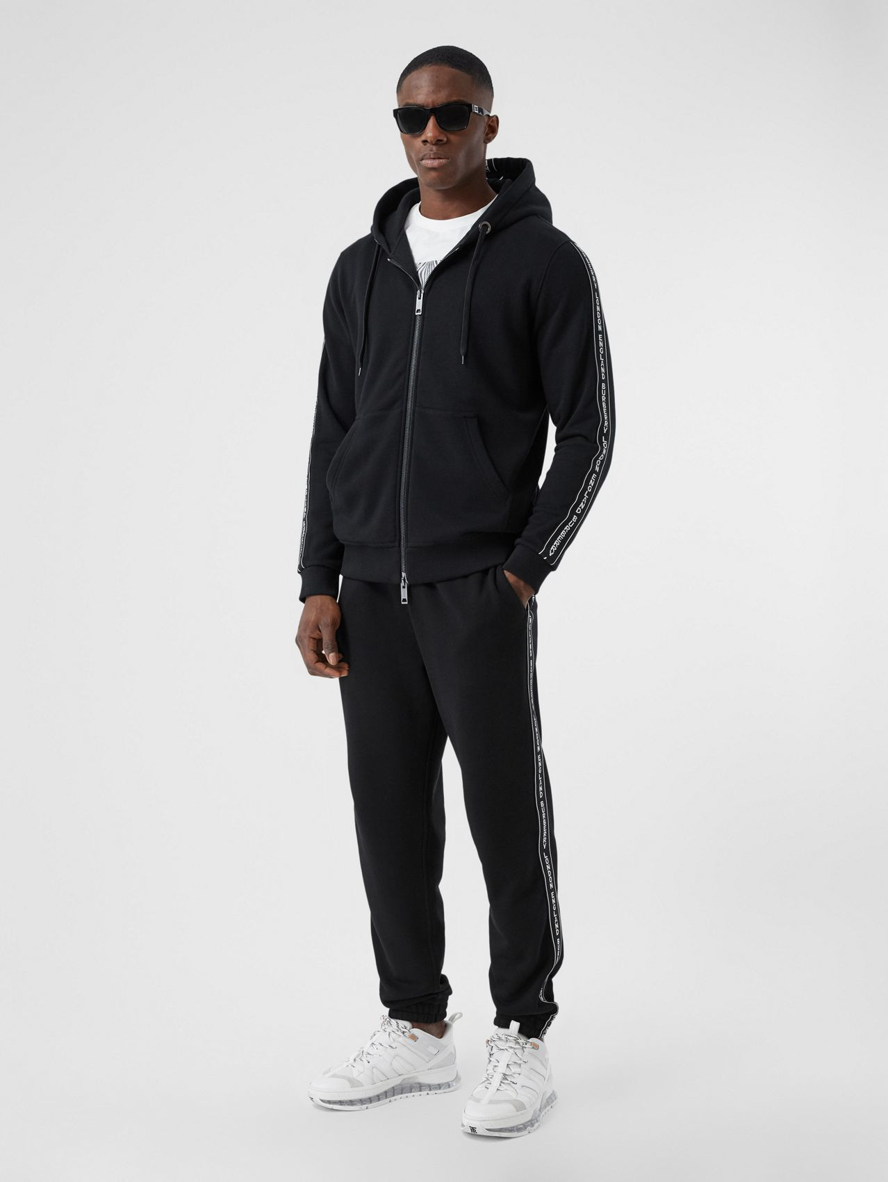 Logo Tape Cotton Jogging Pants in Black