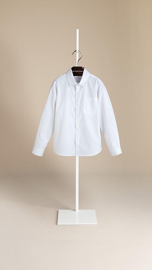 Blanc Chemise en coton à patte couverte - Image 1