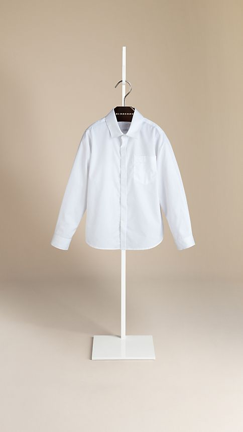 White Covered Placket Cotton Shirt - Image 1