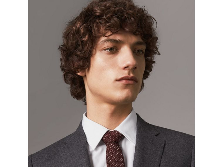 Slim Cut Pinpoint Wool Silk Tie in Cinnamon - Men | Burberry - cell image 2