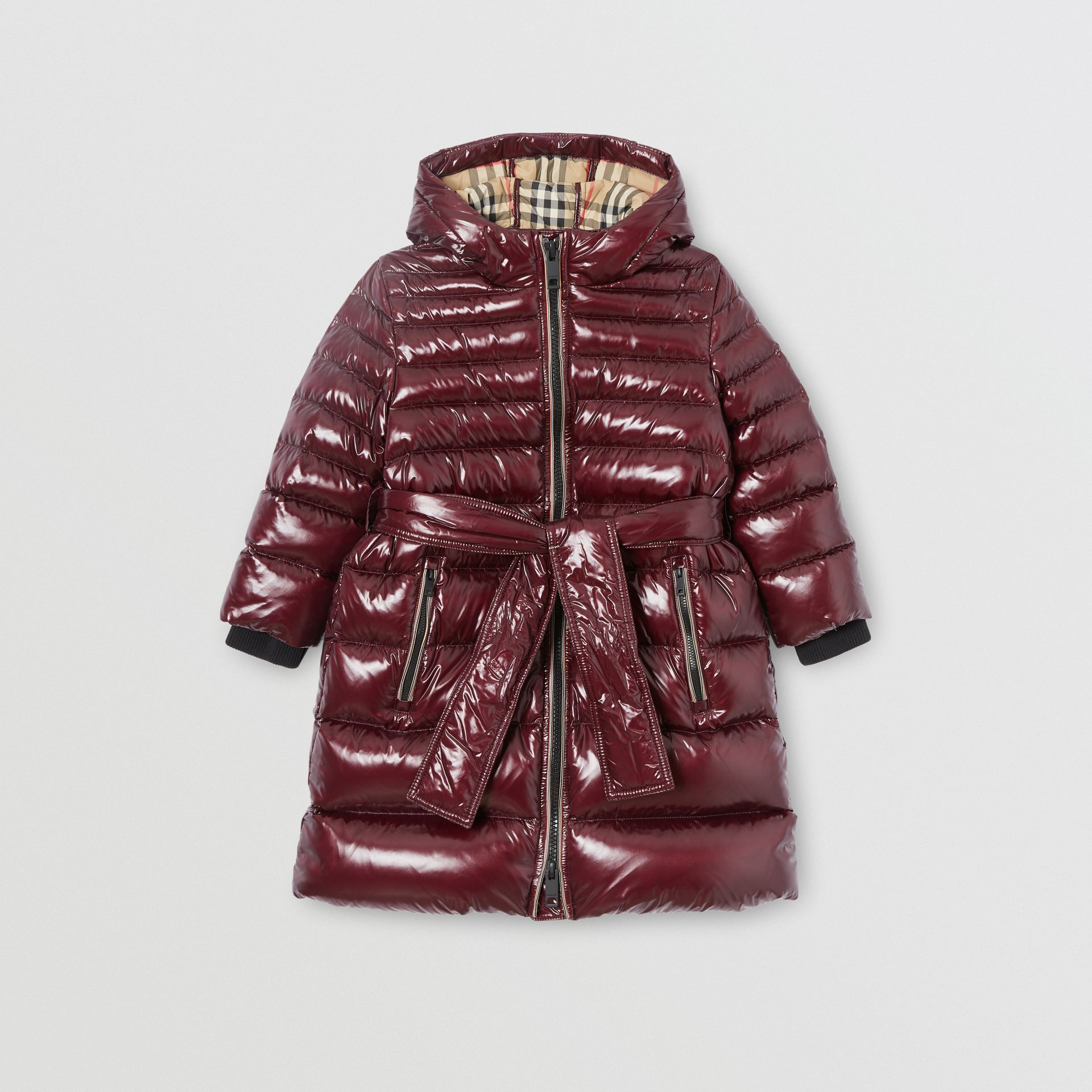 Icon Stripe Detail Down-filled Hooded Puffer Coat in Burgundy | Burberry Australia - gallery image 0