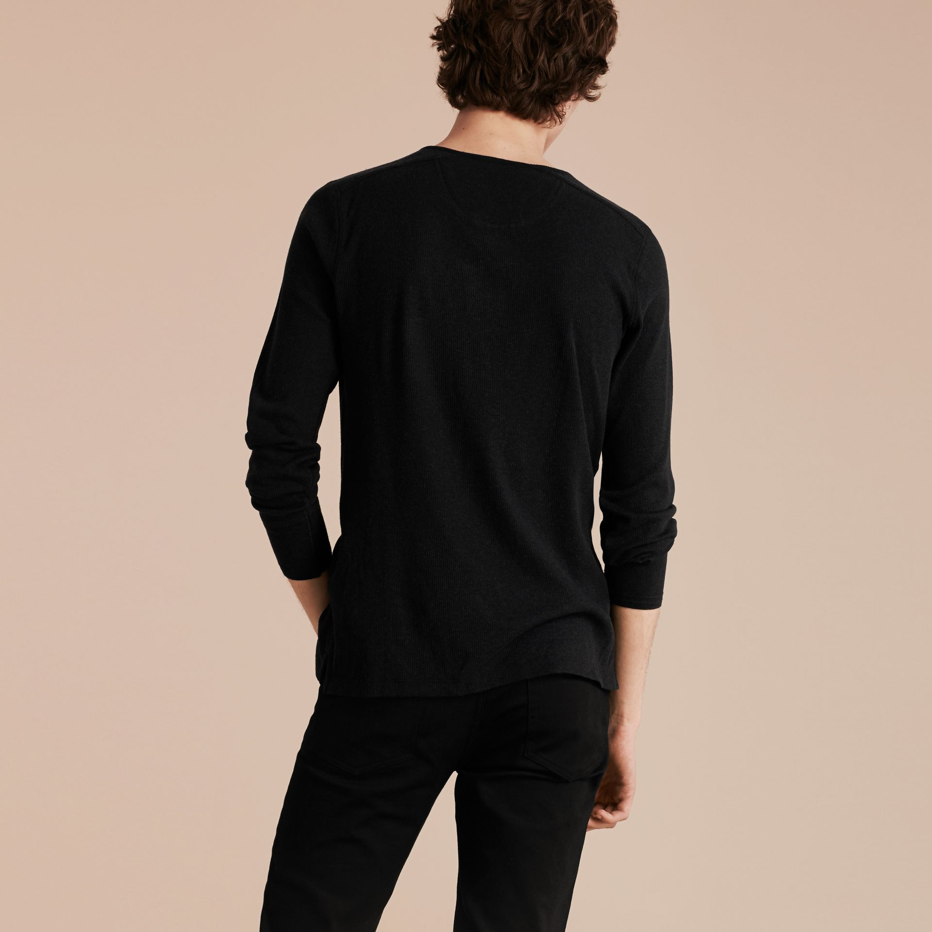 Black Ribbed Cotton Wool Henley Top Black - gallery image 3