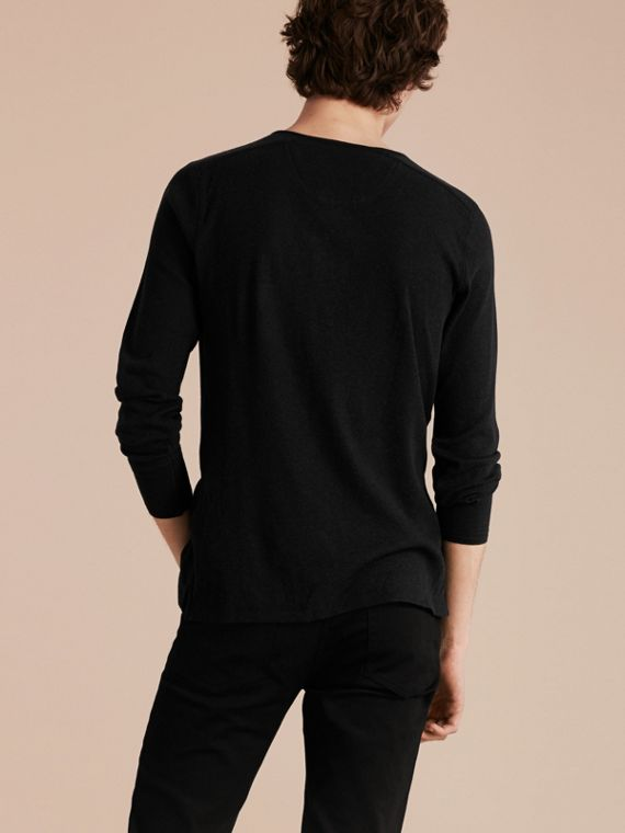 Black Ribbed Cotton Wool Henley Top Black - cell image 2