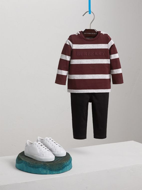 Long-sleeve Striped Cotton Top in Burgundy/grey Melange | Burberry Hong Kong