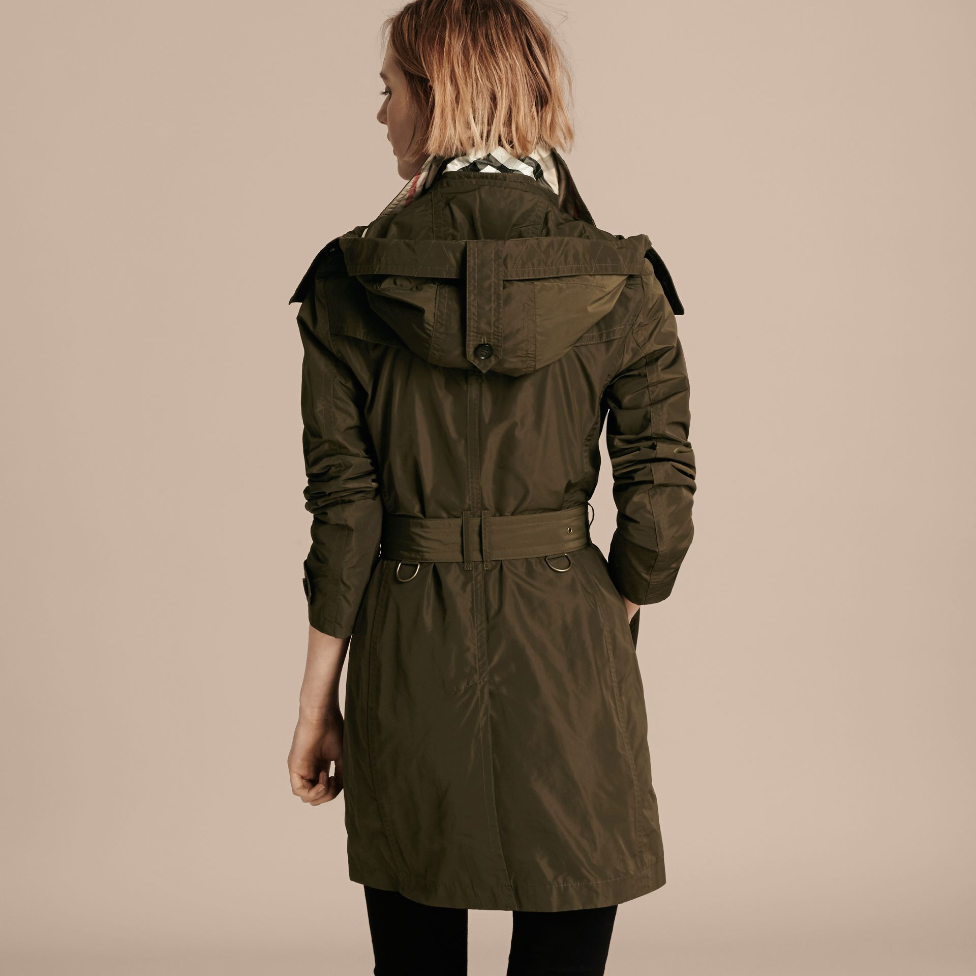 Taffeta Trench Coat with Detachable Hood in Dark Olive - Women | Burberry - gallery image 2