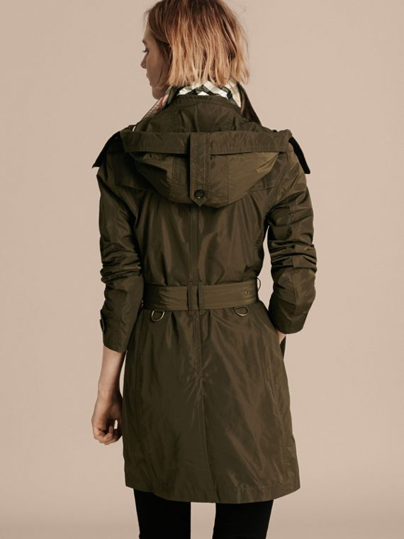 Taffeta Trench Coat with Detachable Hood in Dark Olive - Women | Burberry - cell image 2