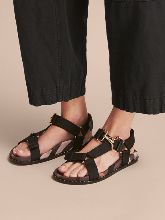 Hardware Detail Check Three-point Strap Ripstop Sandals in Antique Rose - Women | Burberry - cell image 2