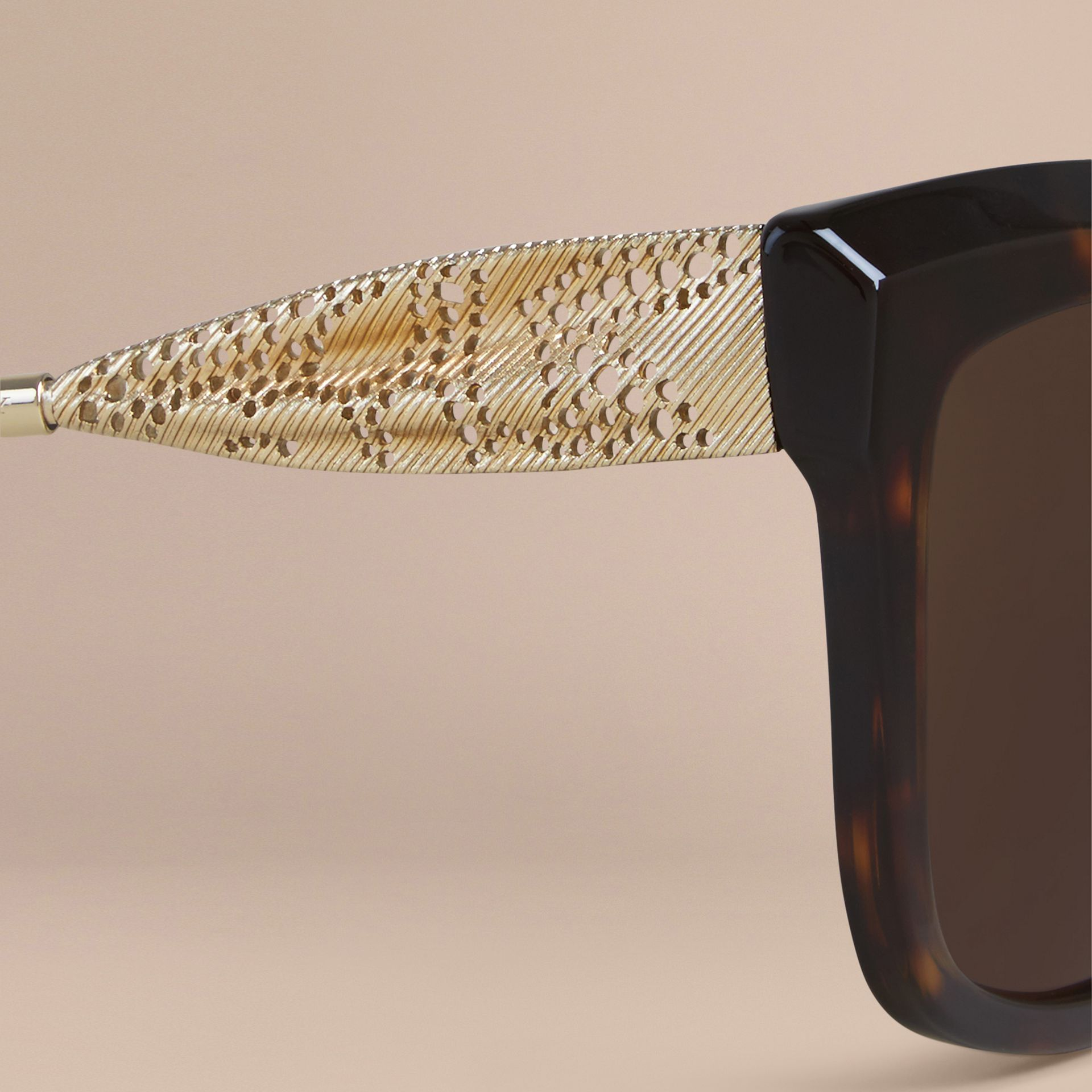 Tortoise shell Gabardine Lace Collection Square Frame Sunglasses Tortoise Shell - gallery image 5