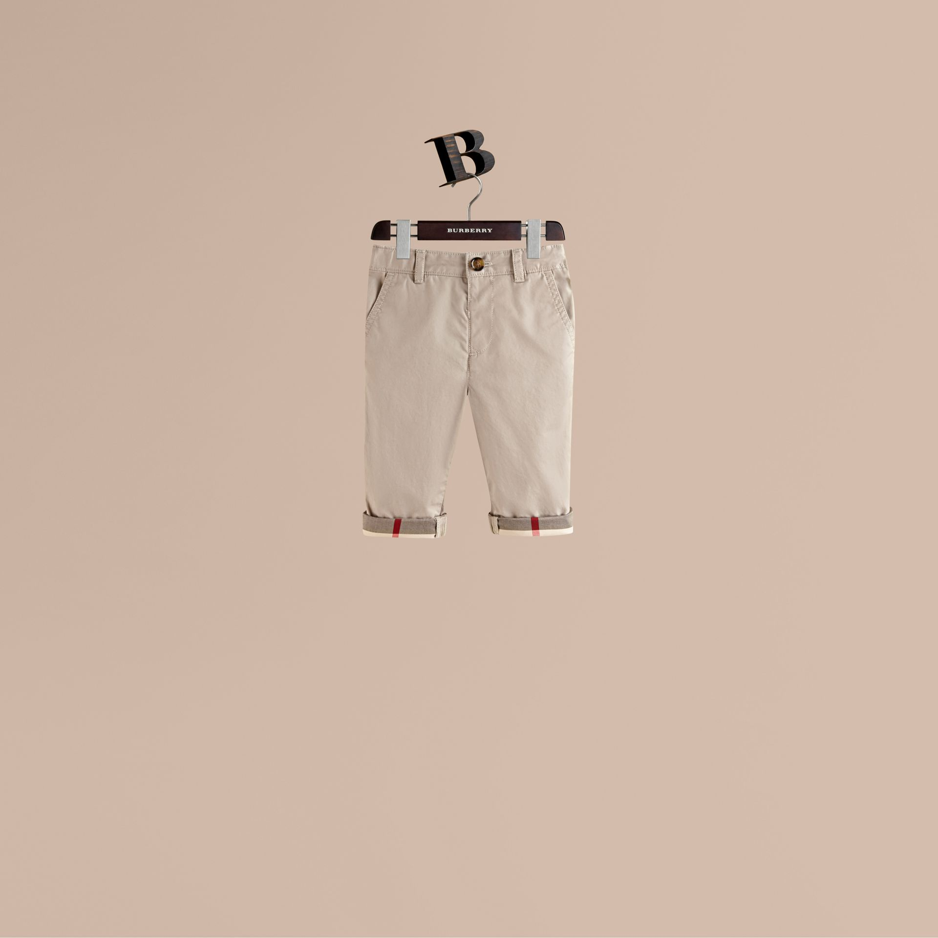 Check Cuff Chinos in Taupe - Boy | Burberry Hong Kong - gallery image 1