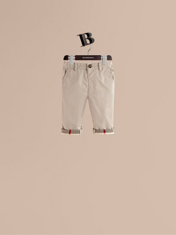 Check Cuff Chinos in Taupe