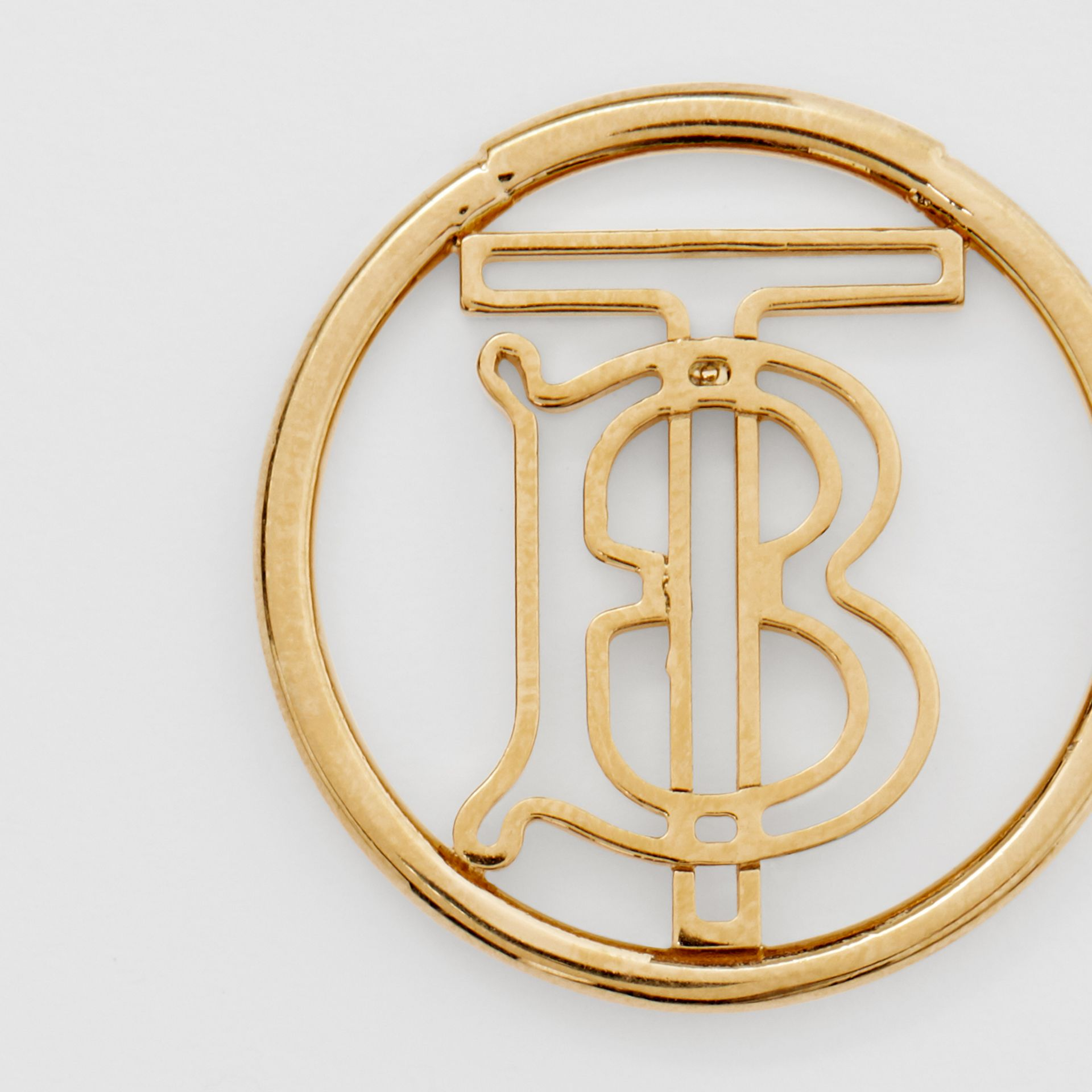 Gold-plated Monogram Motif Earrings in Light - Women | Burberry - gallery image 1