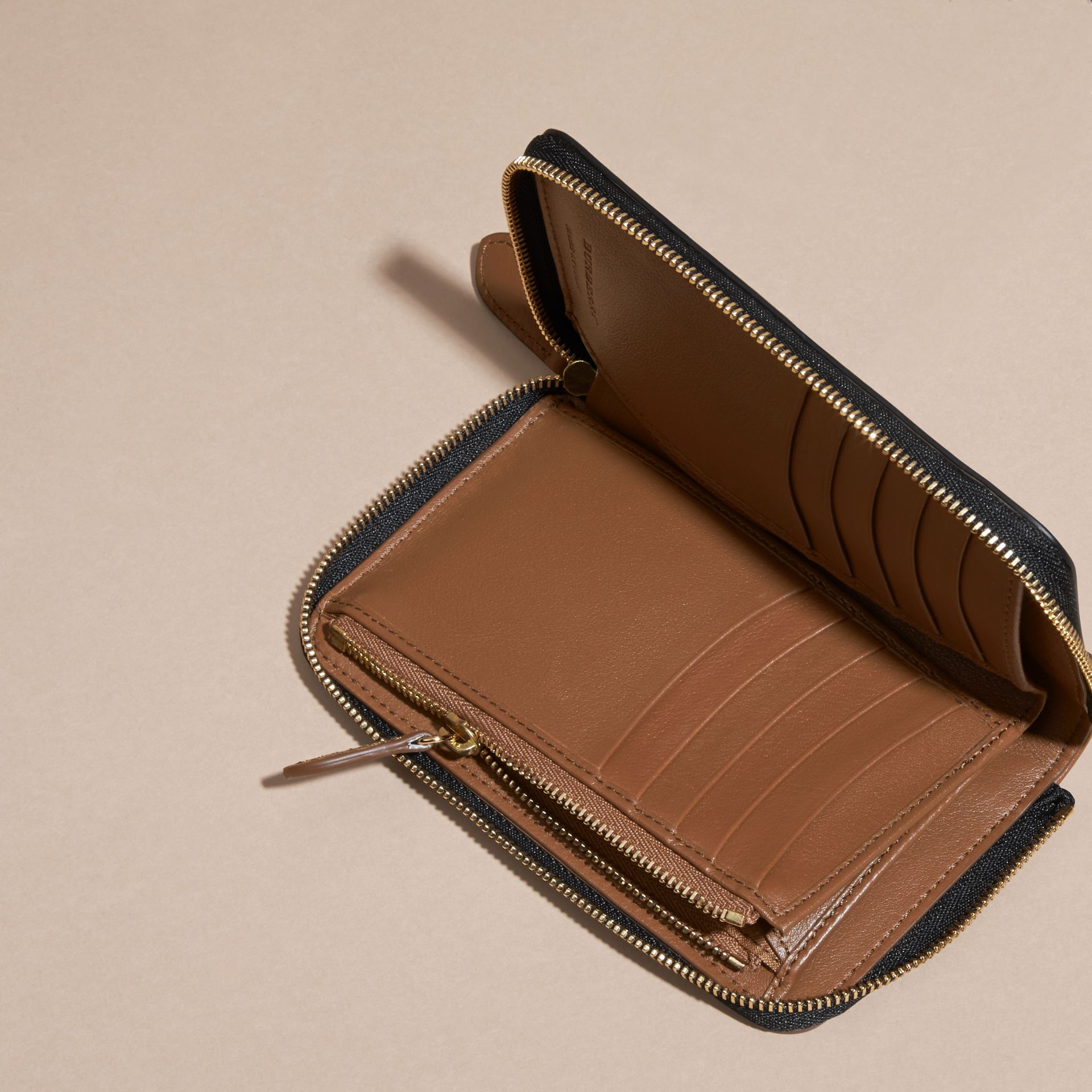 Tan Horseferry Check and Leather Ziparound Wallet Tan - gallery image 5