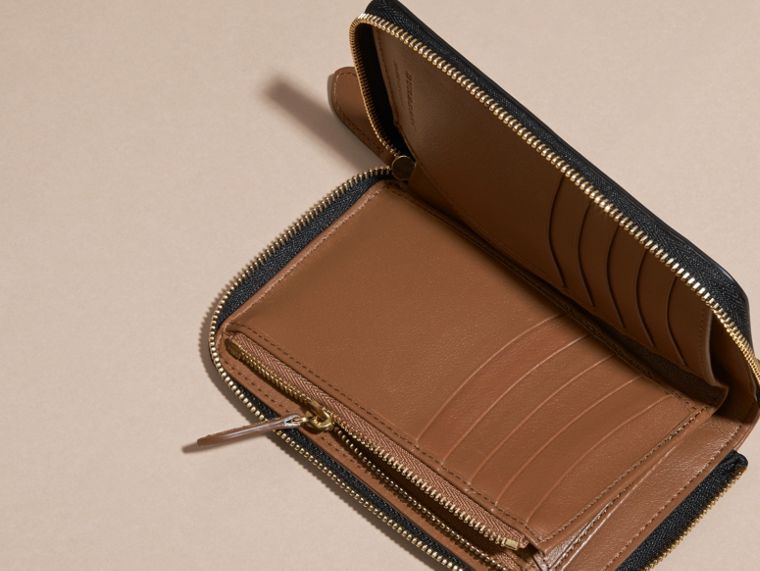 Tan Horseferry Check and Leather Ziparound Wallet Tan - cell image 4