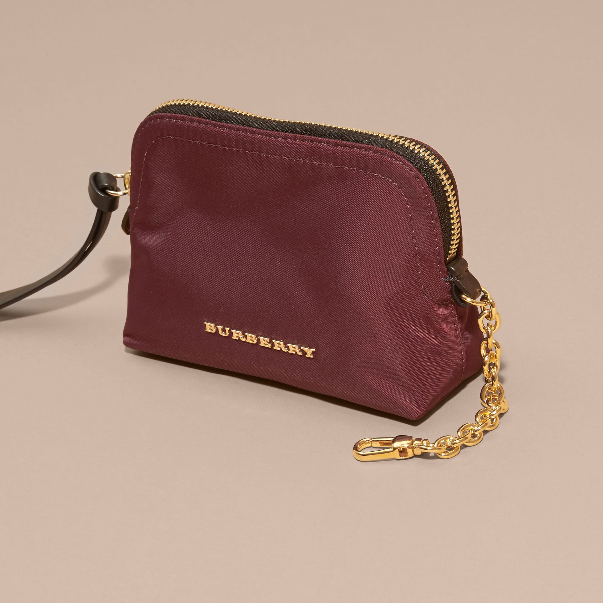 Small Zip-top Technical Nylon Pouch in Burgundy Red - Women | Burberry - gallery image 3