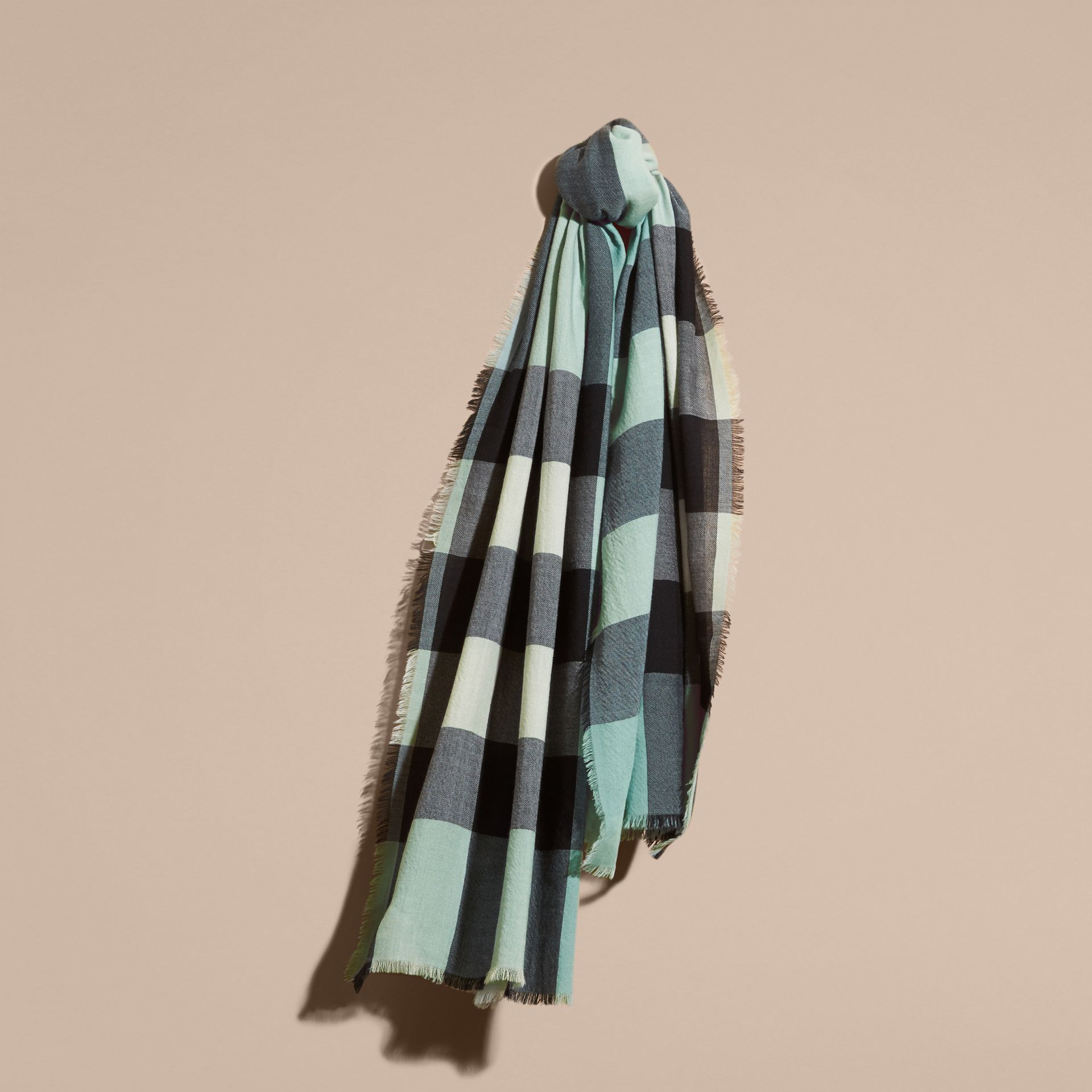 The Lightweight Cashmere Scarf in Check Dusty Mint - gallery image 5