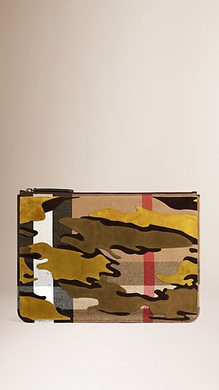 Camouflage Appliqué Canvas Check Document Case