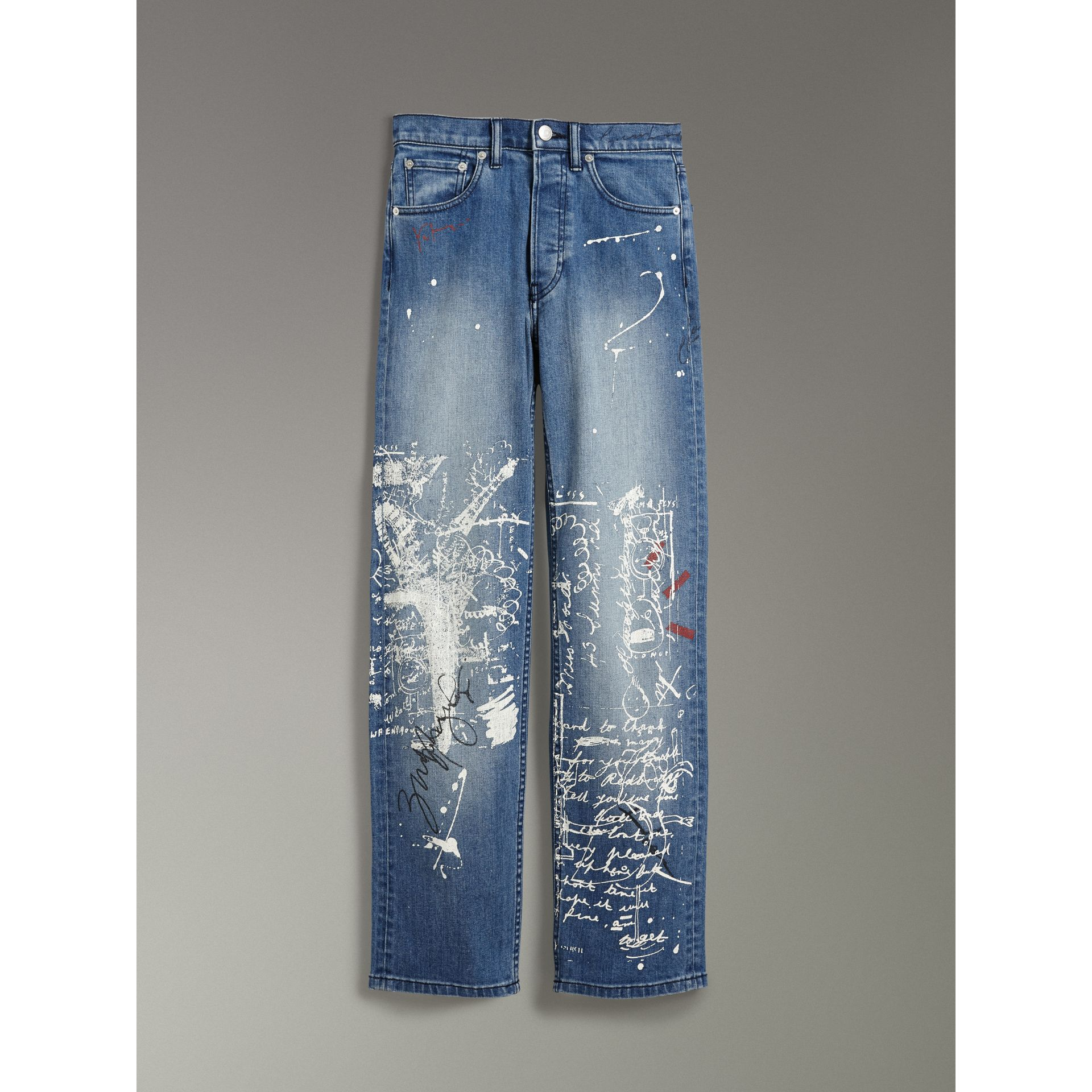 Straight Fit Postcard Print Stretch Jeans in True Indigo Melange - Women | Burberry Canada - gallery image 3