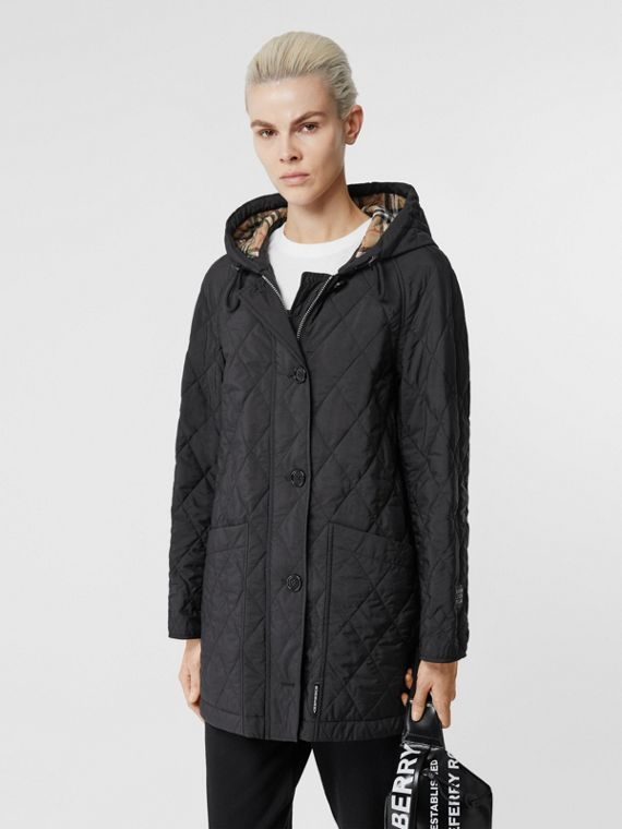 Diamond Quilted Thermoregulated Hooded Coat in Black