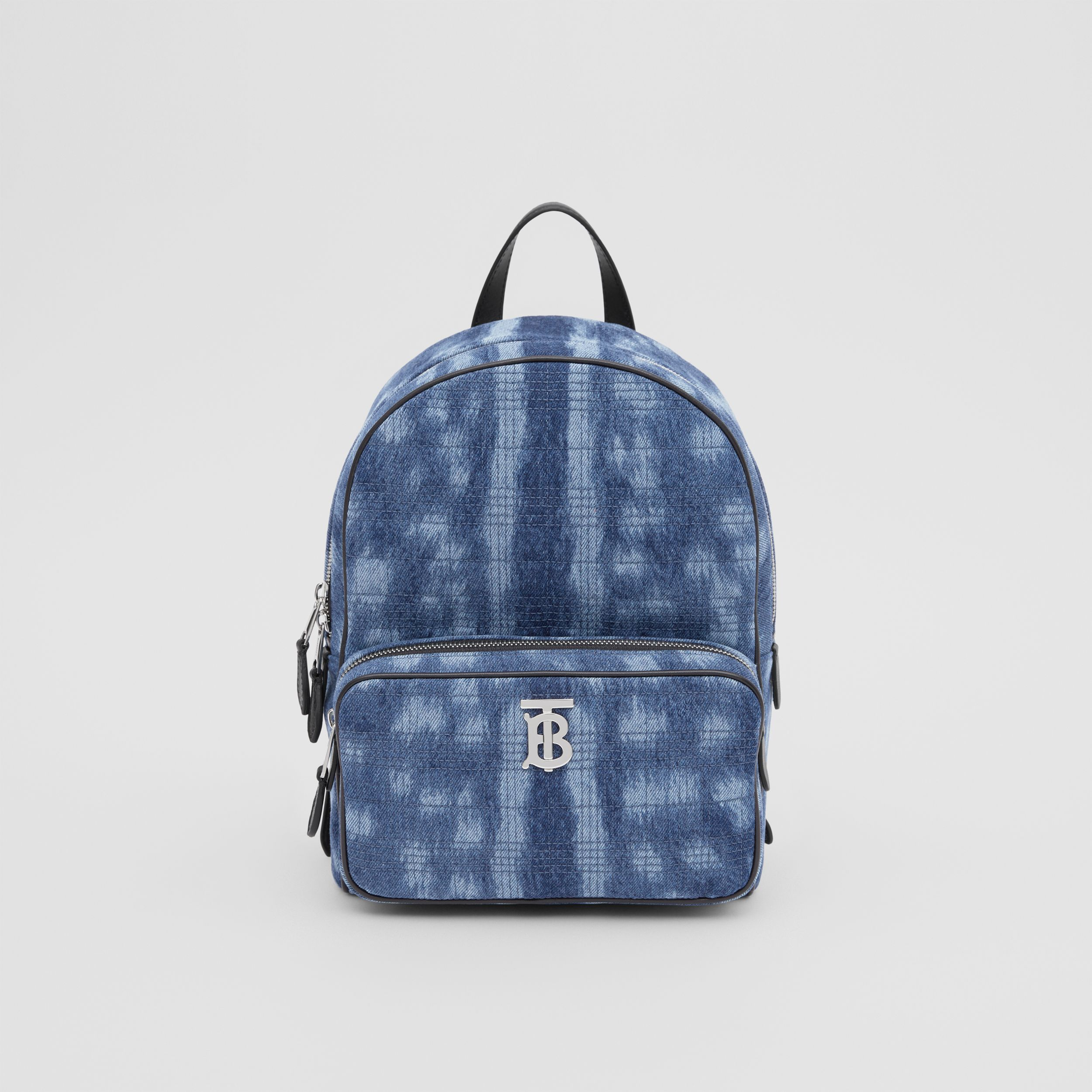 Quilted Deer Print Denim Backpack in Blue - Women | Burberry - 1