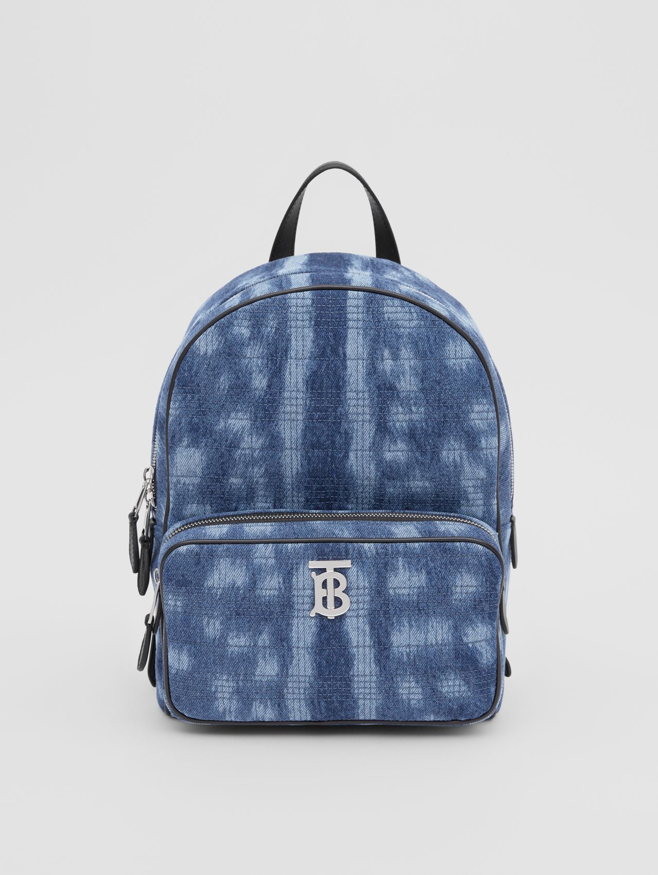 Quilted Deer Print Denim Backpack in Blue