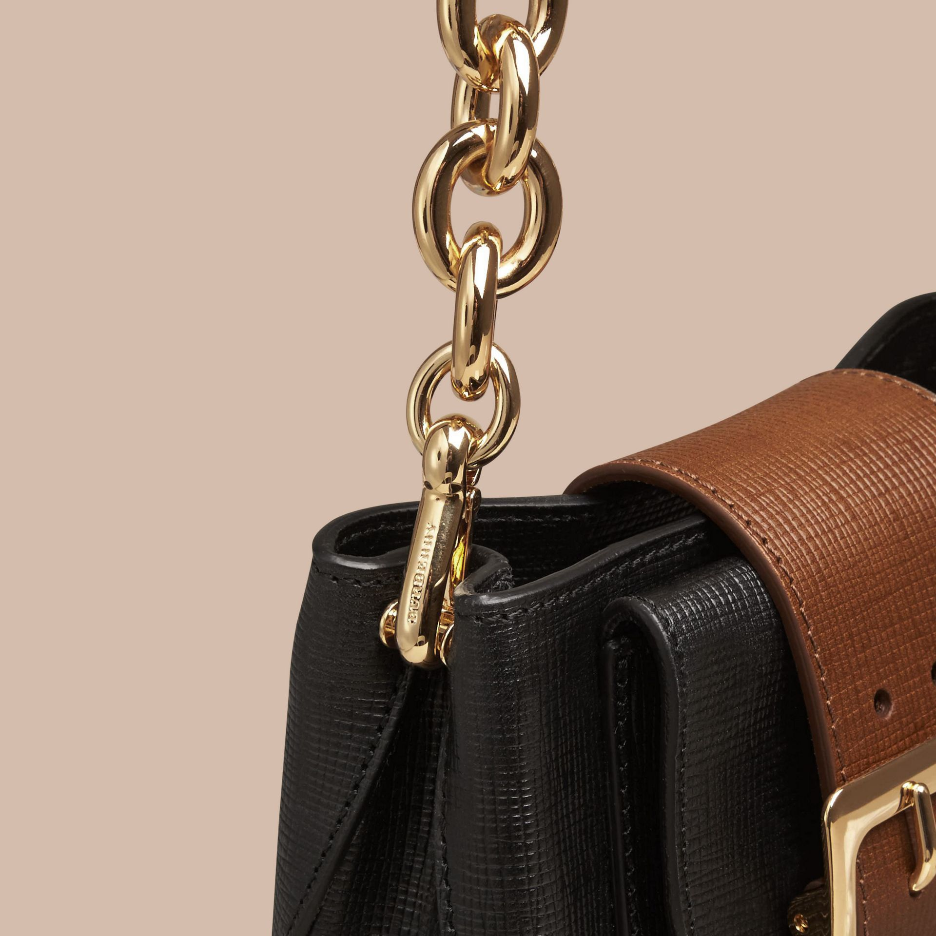 Black The Small Square Buckle Bag in Leather - gallery image 6