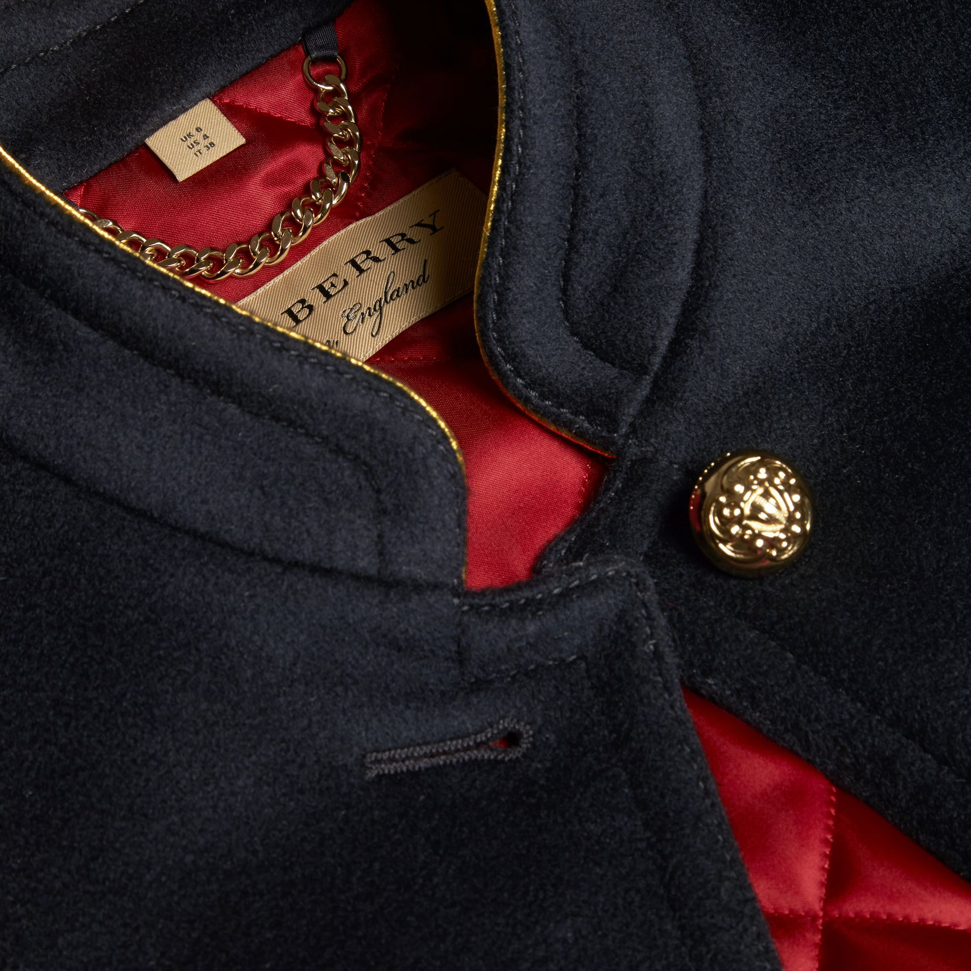 Navy Wool Cashmere Military Jacket with Internal Quilting - gallery image 2