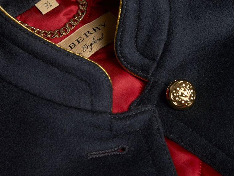 Navy Wool Cashmere Military Jacket with Internal Quilting - cell image 1