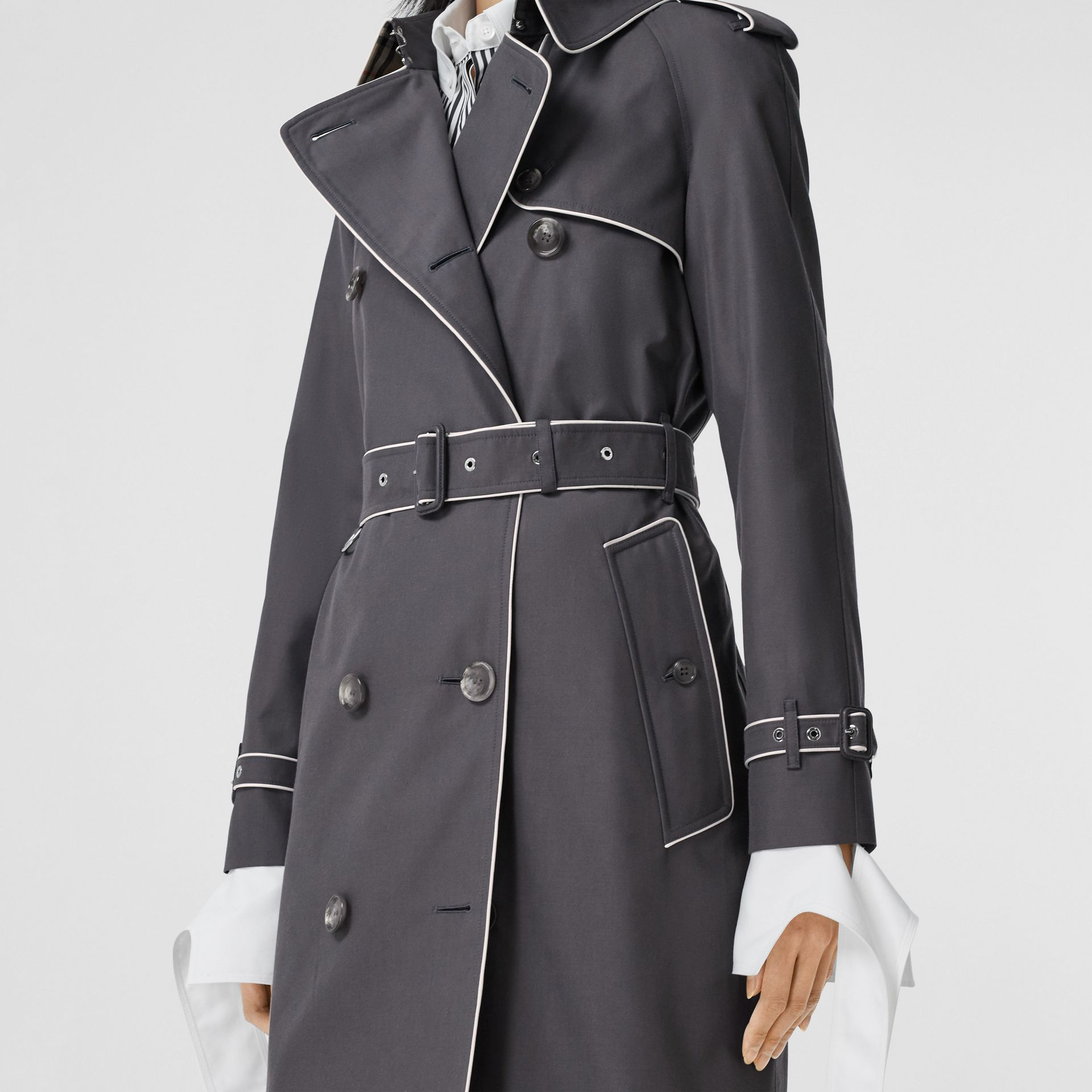 Piped Cotton Gabardine Trench Coat in Mid Grey - Women | Burberry - gallery image 4