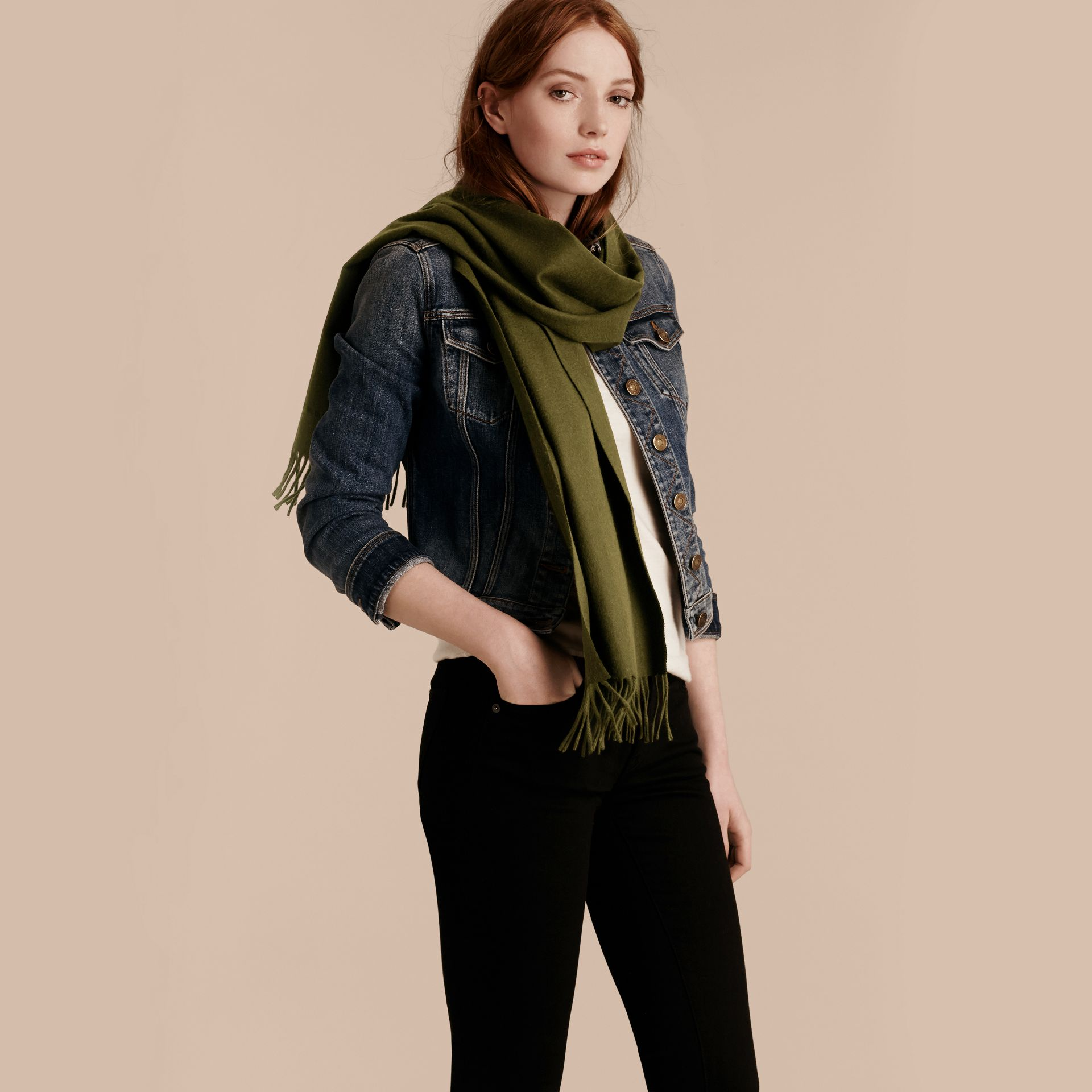 The Classic Cashmere Scarf in Olive Green - gallery image 3