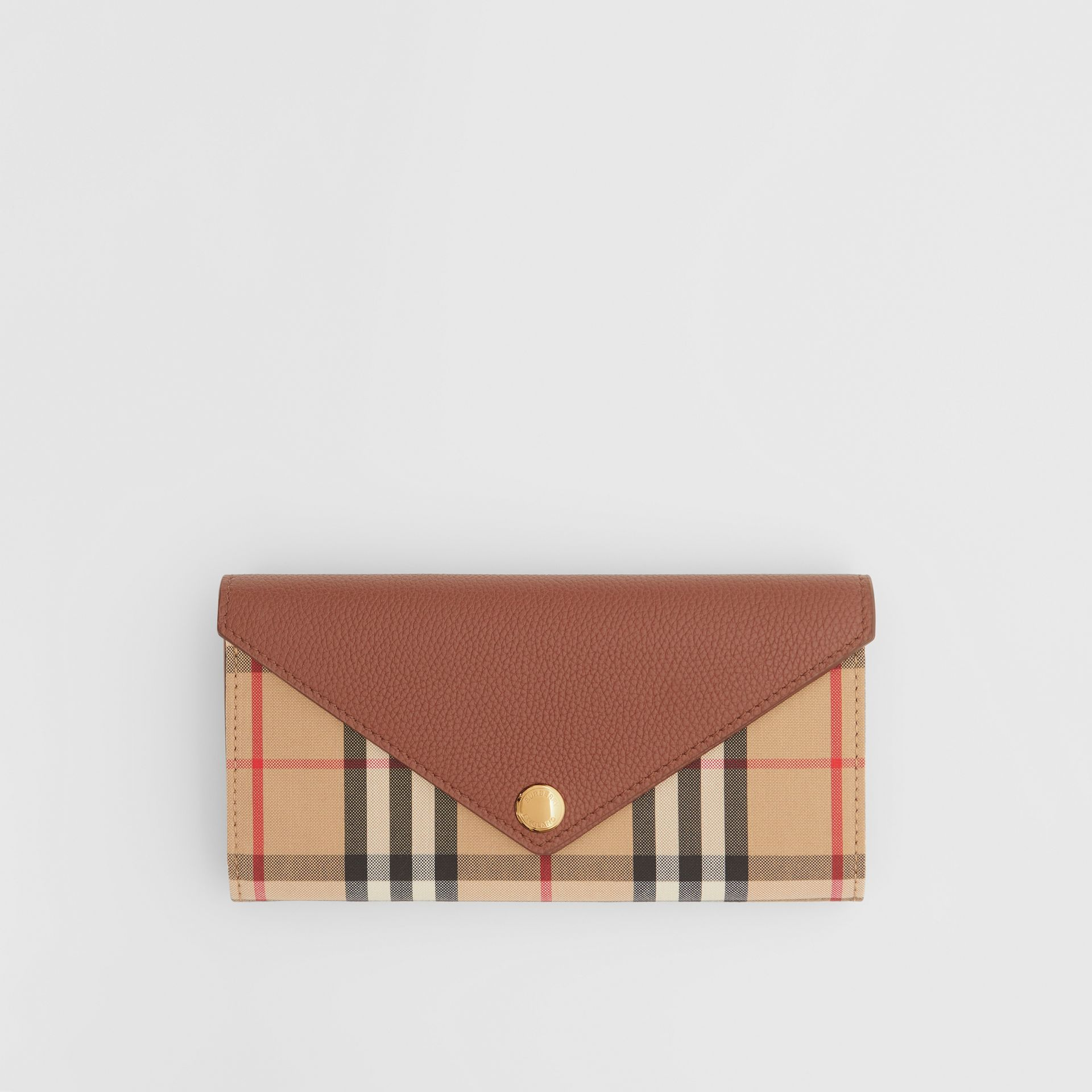 Vintage Check and Leather Continental Wallet in Tan - Women | Burberry - gallery image 0