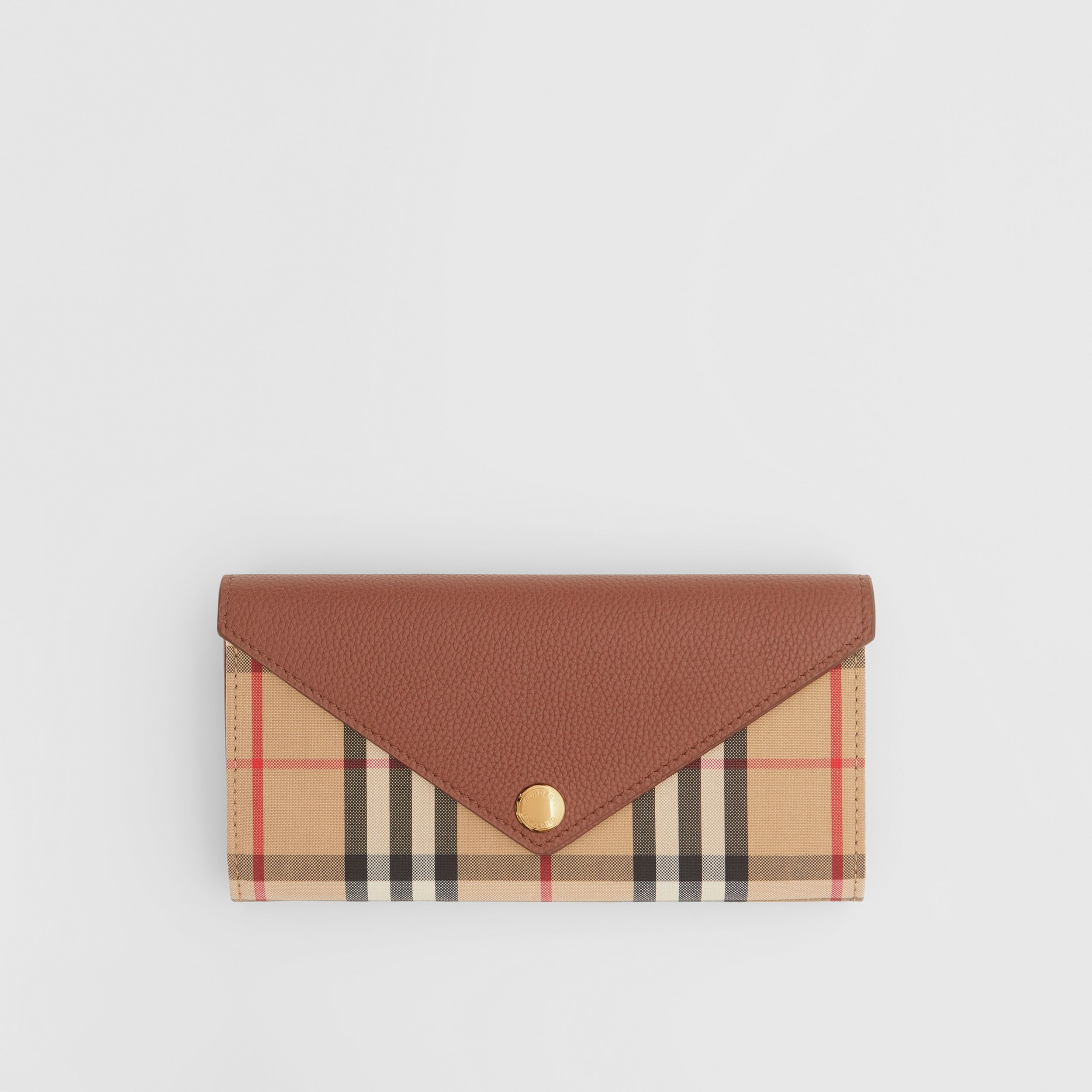 Vintage Check and Leather Continental Wallet in Tan - Women | Burberry - 1