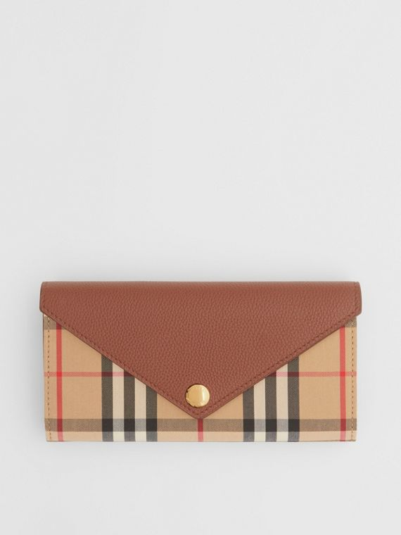 Vintage Check and Leather Continental Wallet in Tan