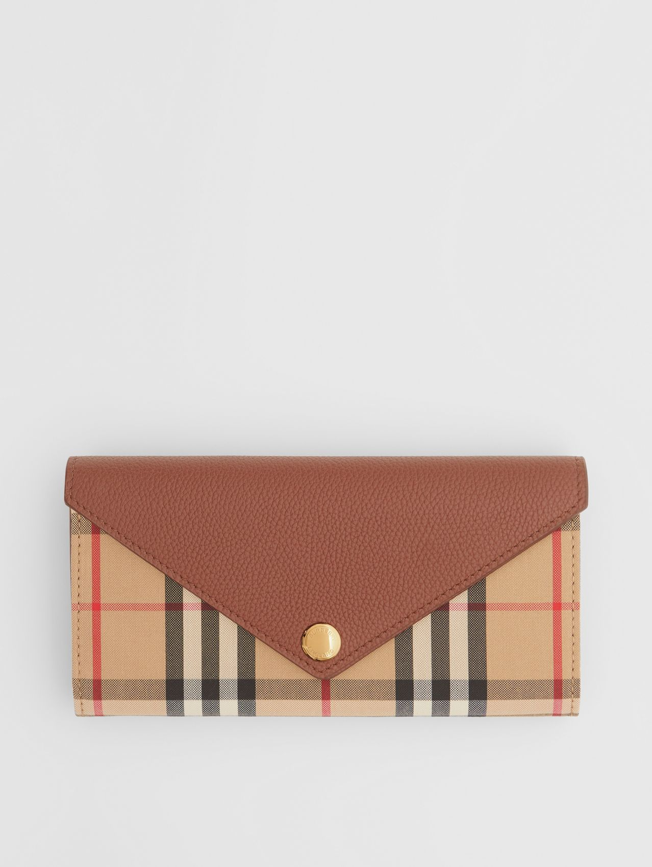 Vintage Check and Leather Continental Wallet (Tan)