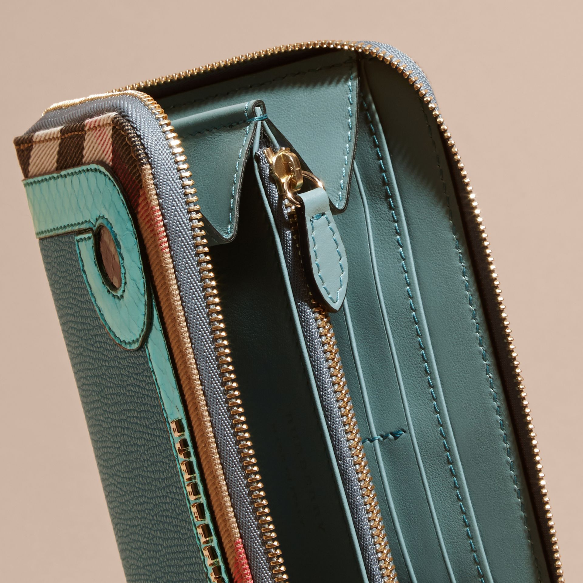 Snakeskin and House Check Ziparound Wallet in Celadon Blue - gallery image 5