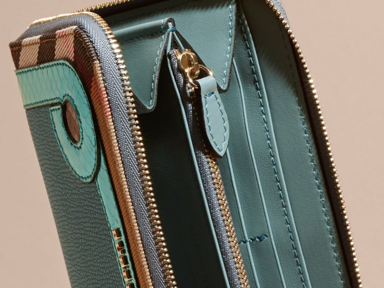Snakeskin and House Check Ziparound Wallet in Celadon Blue - cell image 4